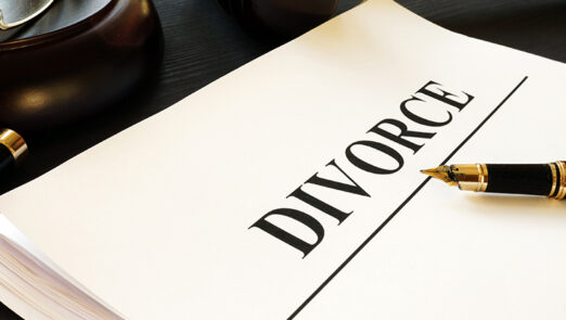 Divorce documents in a court. Separation and alimony.